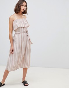 Платье миди в полоску со спущенными плечами Ichi - Мульти