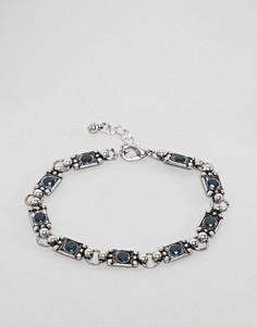 Серебристый браслет-цепочка с камнями ASOS DESIGN - Серебряный