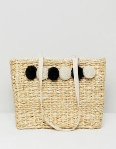 Соломенная пляжная сумка с помпонами Pimkie - Бежевый