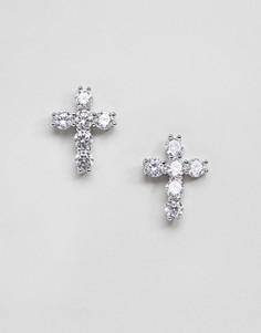 Серебряные серьги в виде крестов Mister - Серебряный