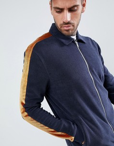 Куртка Харрингон из махровой ткани с бархатной полоской ASOS DESIGN - Темно-синий