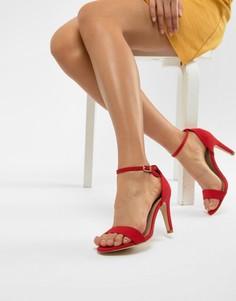 Босоножки из 2 частей на каблуке New Look Wide Fit - Красный