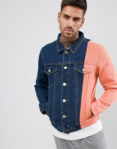 Синяя джинсовая куртка колор блок boohooMAN - Синий