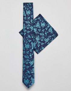 Темно-синие галстук узкого кроя и платок для нагрудного кармана ASOS DESIGN - Темно-синий