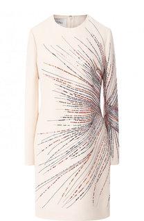 Мини-платье из смеси шерсти и шелка с декоративной отделкой Valentino