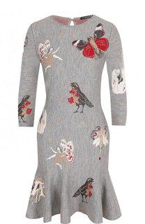Приталенное мини-платье из смеси шелка и шерсти с принтом Alexander McQueen