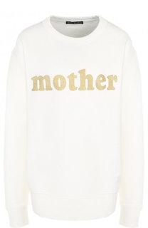 Хлопковый пуловер с круглым вырезом и надписью Acne Studios