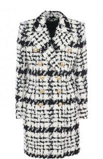 Вязаное пальто прямого кроя с декоративными пуговицами Balmain