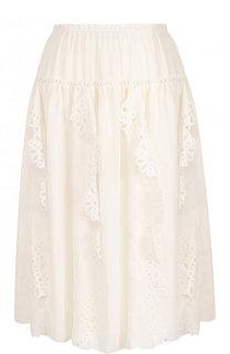 Однотонная юбка с эластичным поясом и оборками See by Chloé