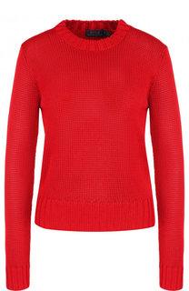Однотонный вязаный пуловер с круглым вырезом Polo Ralph Lauren