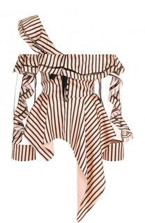 Приталенная блуза асимметричного кроя с оборками self-portrait