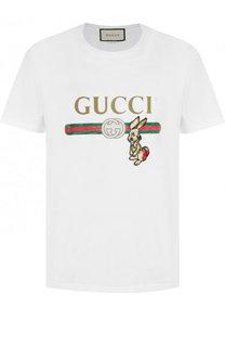 Хлопковая футболка с принтом и нашивкой Gucci
