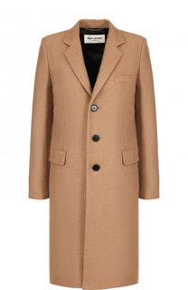 Однотонное шерстное пальто прямого кроя Saint Laurent