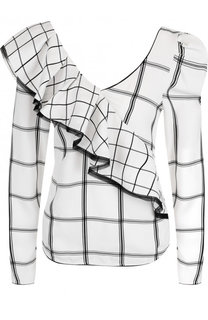 Блуза с V-образным вырезом и оборкой self-portrait