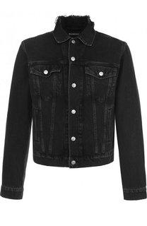 Укороченная джинсовая куртка с принтом Balenciaga