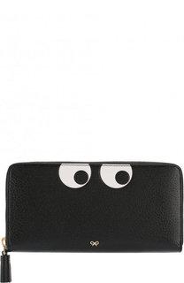 Кожаный кошелек на молнии с аппликацией Eyes Anya Hindmarch