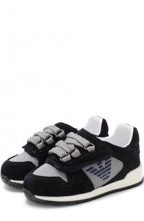 Текстильные кроссовки с застежкой велькро и замшевой отделкой Emporio Armani