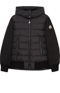 Пуховая куртка с текстильной спинкой и капюшоном Moncler Enfant
