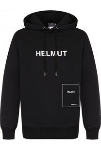 Хлопковое худи с логотипом бренда Helmut Lang