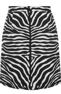 Шерстяная мини-юбка c принтом Michael Kors Collection
