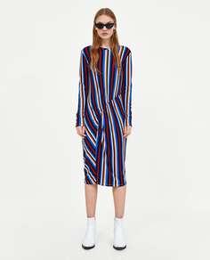 Платье миди со сборкой Zara
