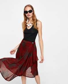 Жаккардовая юбка асимметричного кроя Zara