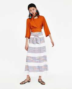 Длинная жаккардовая юбка Zara