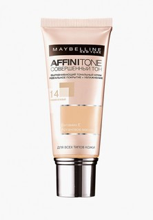 """Тональный крем Maybelline New York для лица """"Affinitone"""", выравнивающий и увлажняющий, с аргановым маслом, оттенок 14, Кремово-бежевый, 30 мл"""