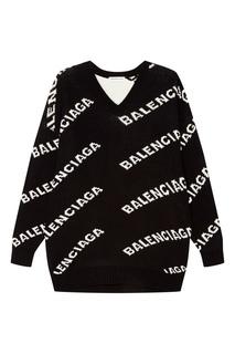 Черный пуловер с логотипами Balenciaga