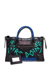 Черная сумка с надписями Graffiti Classic City S Balenciaga
