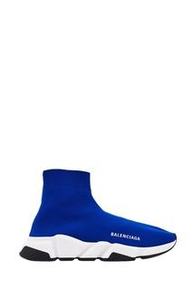 Синие текстильные кроссовки Speed Balenciaga