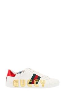 Белые кожаные кеды с логотипом Gucci
