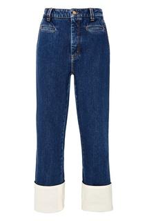 Синие джинсы с отворотами Loewe
