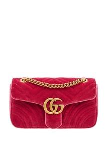 Розовая бархатная сумка GG Marmont Gucci