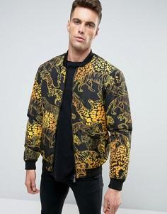 Бомбер с принтом тигров Versace Jeans - Черный