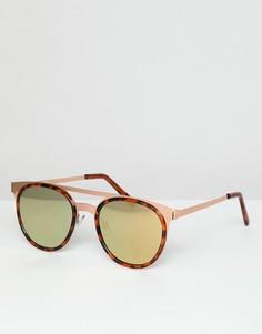 Круглые солнцезащитные очки в розоватой металлической оправе с черепаховой отделкой ASOS DESIGN - Золотой