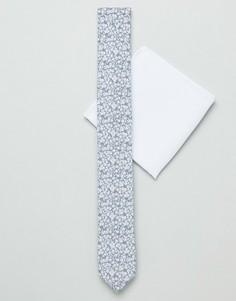 Серый узкий галстук и платок для пиджака с цветочным принтом ASOS DESIGN - Серый