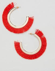 Серьги-кольца с бахромой Missguided - Золотой