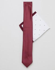 Галстук и платок для нагрудного кармана бордового цвета New Look - Красный