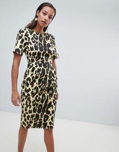 Платье миди с леопардовым принтом ASOS DESIGN - Мульти