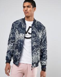 Бомбер с принтом тигров Versace Jeans - Темно-синий