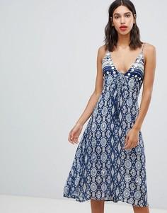 Платье миди с мозаичным принтом Raga - Темно-синий