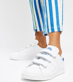 Белые кроссовки на липучках с синими вставками adidas Originals Stan Smith - Белый