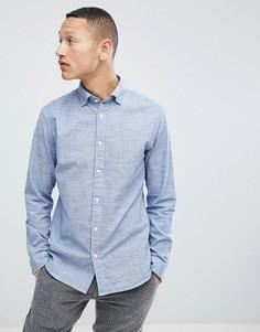 Хлопковая меланжевая рубашка классического кроя Selected Homme - Темно-синий