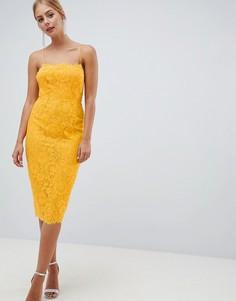 Кружевное платье-футляр ASOS DESIGN - Желтый