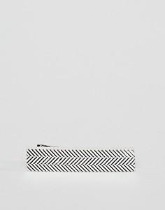 Серебристый зажим для галстука с шевронным узором Icon Brand - Серебряный
