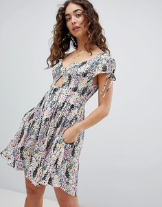 Free People Miss Right Printed Dress - Белый