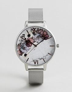 Серебристые часы с сетчатым браслетом и мраморной отделкой на циферблате Olivia Burton OB16MF09 - Серебряный
