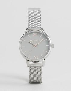 Серебристые часы с сетчатым браслетом и серым циферблатом Olivia Burton OB16MD95 - Серебряный