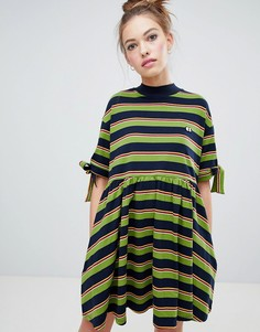 Lazy Oaf bow sleeve stripy dress - Черный